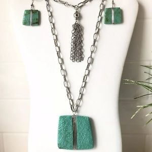 Green LAVA Necklace and Earrings